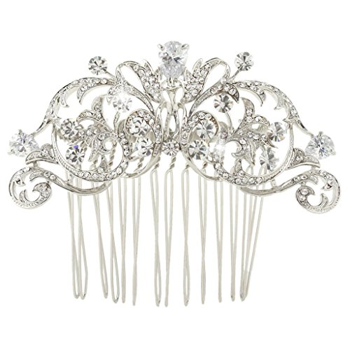 EVER FAITH Austrian Crystal CZ Wedding Royal Flower Leaf Vine Hair Comb Clear Silver-Tone