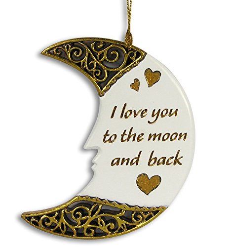 Moon Ornament - I Love You To the Moon and Back Heart Design - New Baby Ornament - Love Christmas Ornament (Car Ornament First Christmas)