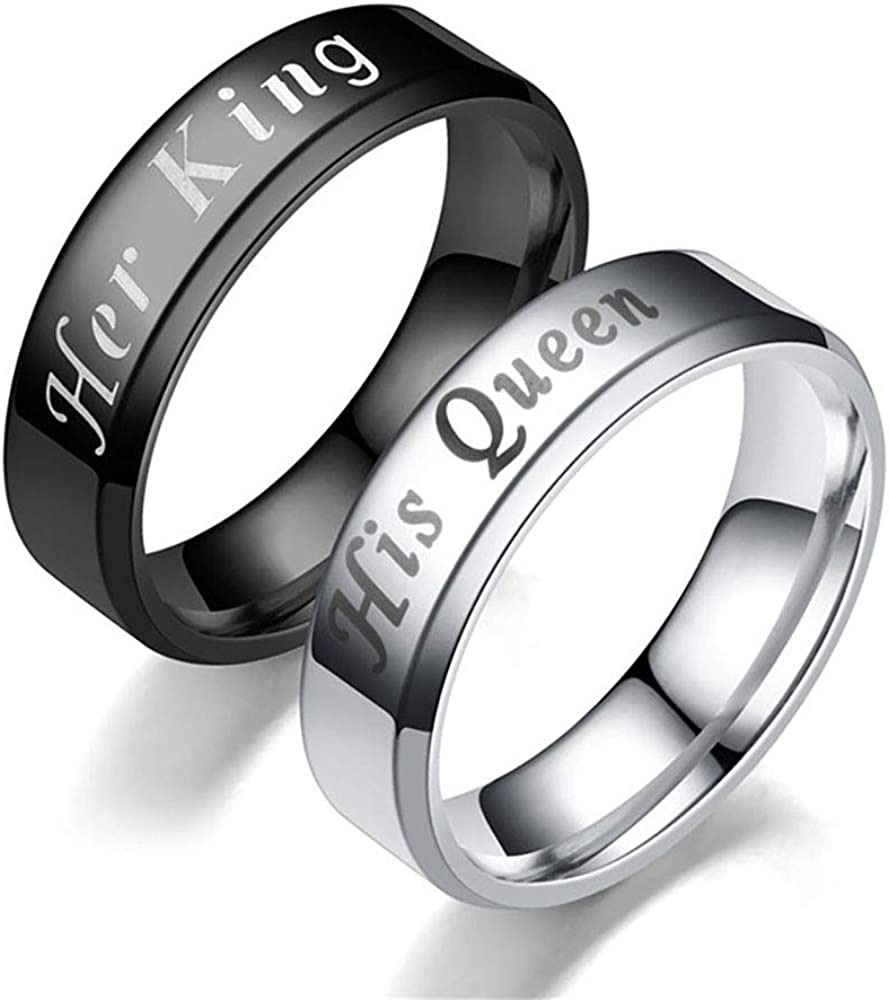 Ginger Lyne Collection Her King Black or His Queen Stainless Steel Matching Wedding Band Ring