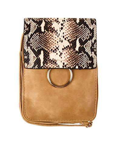 Just Mode(TM)Snakeskin Pattern Universal Leather Mini Pockets Shoulder Bags Crossbody Phone Pouch Purse Wallet Holster Case (Lined Snakeskin Clutch)