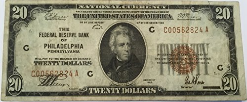 Rare $20 National Currency 1929 Brown Seal Federal Reserve Bank Philadelphia PA USA Scarcer Early Type Note