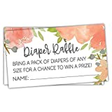 50 Watercolor Floral Diaper Raffle Tickets - Girl Baby Shower Game