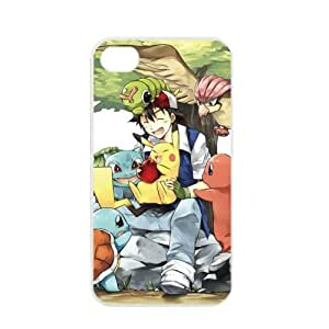 Pokemon Popular Cute Pikachu Apple iPhone 4 4S TPU Soft Black or White Cases (White)