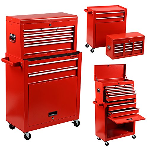 Rolling Tool Box Portable Tool Chest 2 in 1 Removable Steel Tool Organizer Storage Box Tool Kit Cabinet Trolley Toolbox with Cabinet Sliding Drawers, Lockable Caster Wheels, Red -