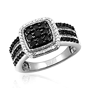 1.00 Carat T.W. Black And White Diamond Square Sterling Silver Ring