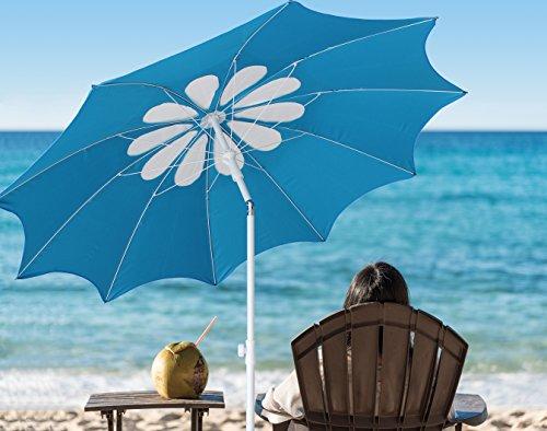 Ammsun 2017 7ft Beach Patio Heavy Duty Umbrella 10 panels Deluxe Flower Design ,Adjustable Height,with deluxe zinc Tilt,lake blue /white (Outdoor Beach Umbrella)