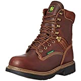 John Deere Mens Brown Leather 8in WP Lace-Up Work Boots 15 W