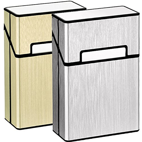 - LORWING Cigarette Case King Size Aluminum for Whole Package Cigarettes 20pcs Anti-Collision Splash Proof and Scratch Resistant (2 Pack - Silver + Golden)