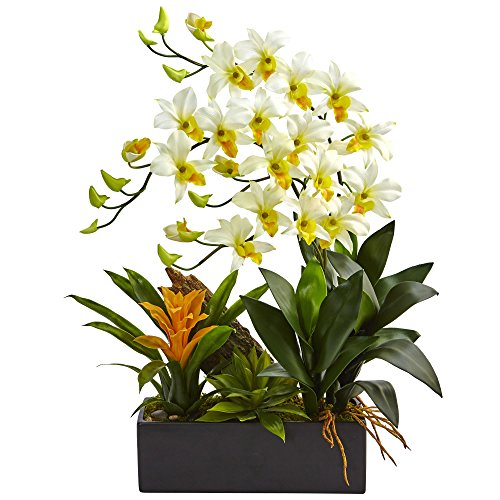 Dendrobium Silk Orchid Arrangement - Nearly Natural Dendrobium Orchid and Bromeliad Silk Arrangement, Cream