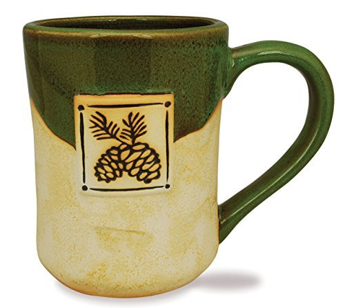 New Cape Shore Etched Potters Coffee Mug Pine Cone 15 Ounce Tea Cup ...