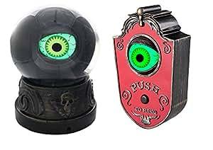 Halloween Animated Green Eyeball Crystal Ball Prop & Animated Red Eyeball Doorbell Bundle of 2 Items