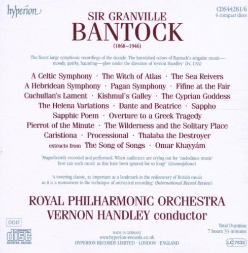 Bantock: Orchestral Music by HYPERION