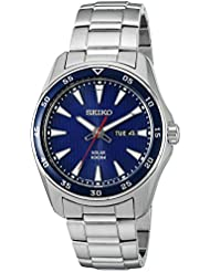 Seiko Mens SNE391 Solar Analog Display Japanese Quartz Silver Watch