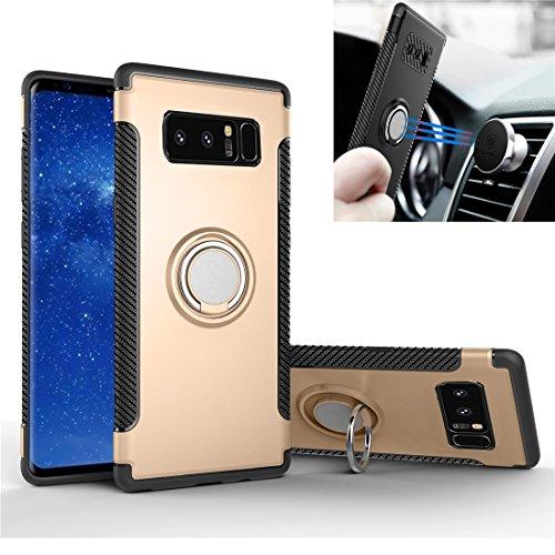 Funda Galaxy Note 8 Caja giratoria de anillo, Rexang [360 ° Kickstand] Fibra de carbono, textura de metal [Dual Shockproof]...