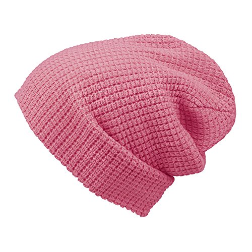 Morehats Embossed Knit Slouchy Beanie Winter Warm Ski Skater Hip-hop Hat - Pink