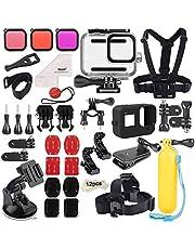 Deyard 52 in 1 Zubehörset für GoPro Hero 8 Schwarz, Unterwassergehäuse 3 Filter Gummikoffer Brust- / Kopf- / Handschlaufe Fahrrad- / Autorucksackclip