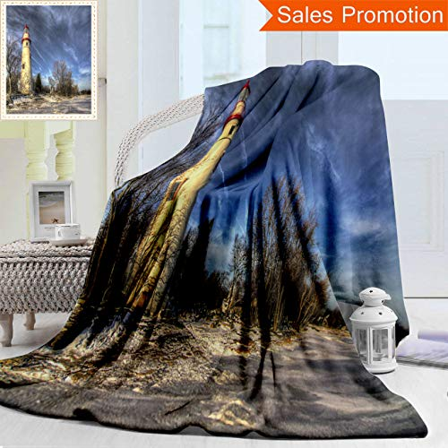 Unique Double Sides 3D Print Flannel Blanket The Historic Marblehead Lighthouse in Northwest Ohio Sits Along The Rocky Shores of Lake Cozy Plush Supersoft Blankets for Couch Bed, Twin Size ()