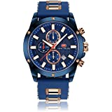 Men's Sport Quartz Watches,Fashion Casual Watch,Mini Focus Men Chronograph Waterproof Wrist Watch with Date Display (Gold Blue)