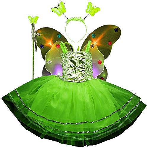 (Fairy Costume Set 4pcs,Girls Dress Up Princess Dress, Butterfly Wings, Wand and Headband for Children Ages 3-10 (Green-LED Light))