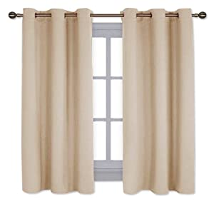 NICETOWN Thermal Insulated Grommet Room Darkening Curtains/Draperies/Panels for Bedroom (2 Panels, W42 x L63 inches, Biscotti Beige)
