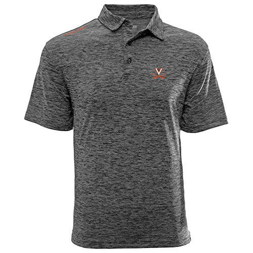 Levelwear LEY9R NCAA Virginia Cavaliers Adult Men Haze Wordmark Polo, X-Large, Heather Charcoal