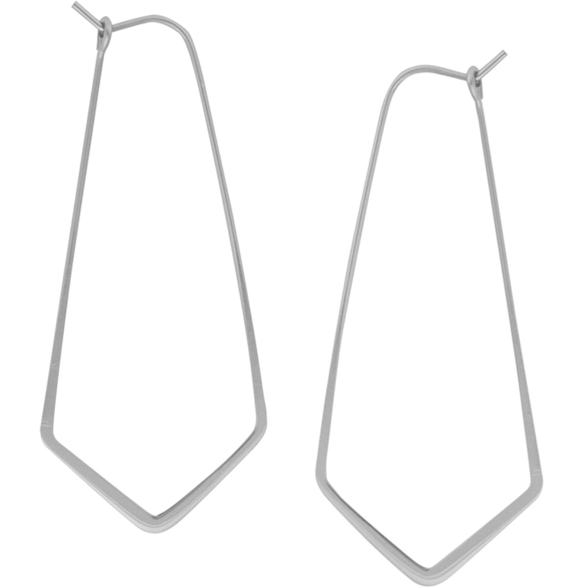 Geometric Chevron Threader Hoop Earrings - Lightweight Cutout Thin Wire Drop Dangles, 925 White - 2'', Sterling Silver-Electroplated, Hypoallergenic, by Humble Chic NY