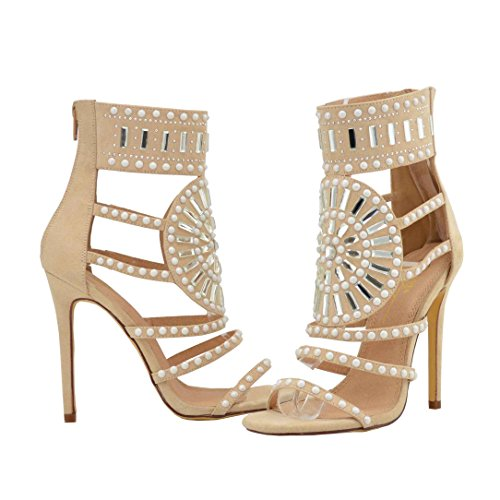 Olivia and Jaymes Embellished Sparkly Open Toe High Heel Ankle Strap Rhinestone Sandals for Women (10, Nude)