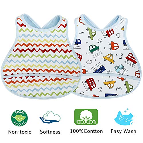 Acecharming 2 Pack Three Layers Baby Crossover Straps Apron Bibs(Wave & Bus) -