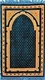 Premium Islamic Prayer Rug/Janamaz Sajjadah/Namaz Seccade by GOLD CASE - Diagonal Patterned - Made in TURKEY, Blue
