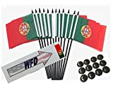 Box of 12 Portugal 4''x6'' Polyester Miniature Desk & Little Table Flags, 4x6 Portuguese Small Mini Hand Waving Stick Flags with 12 Flag Bases (Stands)