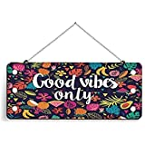 Paper Plane Design Wood Door Hanging (5 INCH X 11 INCH) Good Vibes ONLY