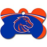 Personalized Laser Engraved 1.5 x 1 inch Boise State Broncos Bone Shape Pet ID Tag - Free Tag Silencer