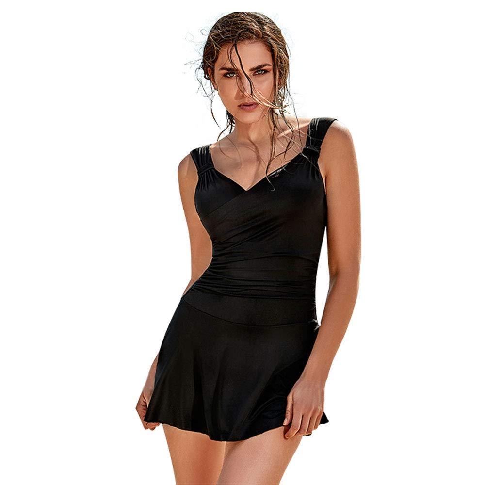 BALNEAIRE Women\'s V Neck One Piece Swim Dress Plus Size Swimwear Swimsuit  Bathing Suit