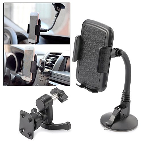 Car Phone Mount ITART Cell Phone Car Mount Holder 2 in 1 Air Vent Mount and Windshield Cell Phone Holder for iPhone Samsung GPS Device