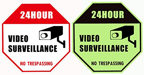 "WISLIFE Video Security Sign - ONE Piece, Glow in the Dark Security Surveillance Signs, No Trespassing Signs 12"" X 12"" (ONLY 1, Day & Night as Picture)"