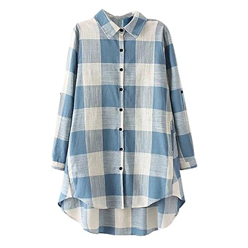 5Dreams Women's Tartan High_Low Style Roll-Up Sleeve Plaid Shirt blue white xl (Plaid Shirt Linen)