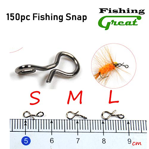 (Greatfishing 150pc Fly Fishing Snaps Stainless Steel Quick Change, Fast Easy Fly Hook Lure Snap, 3 Size Combo Hook Snaps for Flies Jigs Lures)