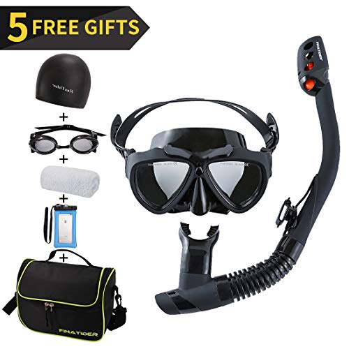 FinaTider [2019 New Snorkeling Set] Diving Mask 180° Undersea Picture with Foldable Dry Snorkel Suitable for Professional Snorkeling Adults and Teenagers