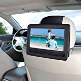 in car dvd player headrest - Universal Car Headrest Mount Holder, RUISIKIOU New Updated Version In-Car DVD Player Holder Headrest Mount Holder Case Rubber Paste Style, Fits All Cars Vehicles for DVD Player Devices (9-9.5 Inch)