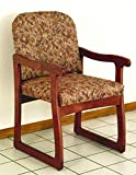 Sled Base Armchair in Mahogany Finish on Solid Oak (Blue Arch)