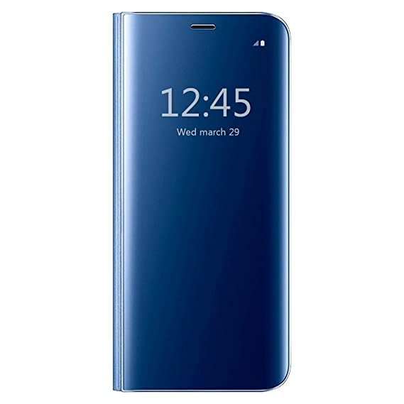 info for baafe 35543 Galaxy J5 2017 Flip Case Shockproof Protective Phone Case Cover Clear View  Standing Scratch Resistant Mirror Case for Samsung Galaxy J5 2017 (Blue)