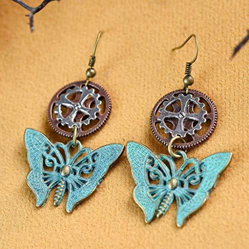 (Alloy Steampunk Gear Earrings Butterfly Drop Ear Hook Retro Punk Bohemian Necklace Jewelry Crafting Key Chain Bracelet Pendants Accessories)