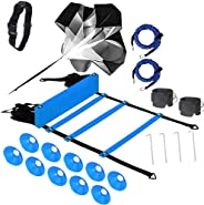 Speed Agility Training Set, Includes Adjustable Agility Ladder, Resistance Running Parachute, 12 Sports Cones,