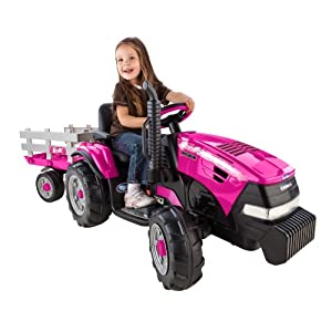 Peg-Perego-Case-IH-Magnum-Tractor-Ride-On-with-Trailer-Pink