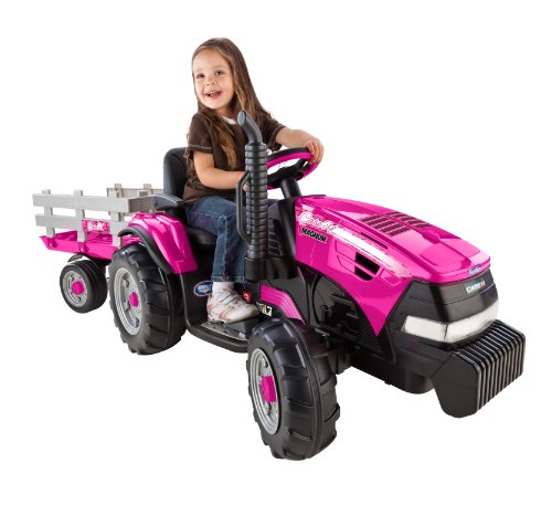 Peg-Perego Case IH Magnum Tractor Ride On with Trailer, Pink