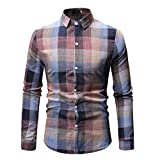 F_Gotal Shirt for Mens, Men's Long Sleeve Plaid Shirt Big and Tall Slim Fit Casual Summer Tees Blouse Tops Pink