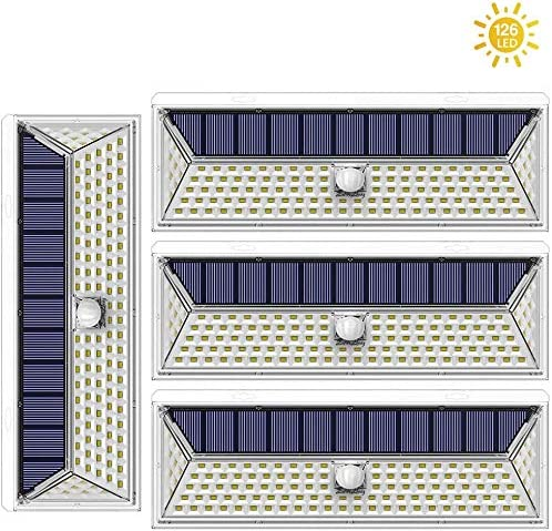Amposei 126 LED Solar Lights Outdoor, Super Bright Solar Motion Sensor Lights with 270 Wide Angle 3 Modes IP65 Waterproof Wireless Security Light Wall Mounted for Garden Deck Yard Garage 4 Pack