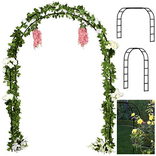Tytroy Reconfigurable & Easy-to-Assemble Metal Outdoor & Indoor 7'6″ Garden or Wedding Arch Arbor for Wedding Bridal Party Elegant Decorations & Garden Climbing Plants Vines (Black 1PC)