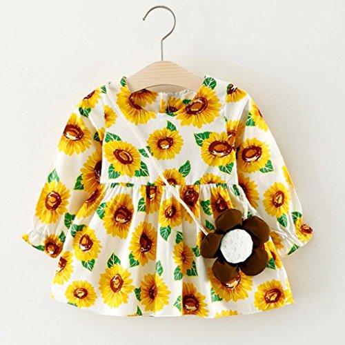 Amlaiworld Baby Mädchen bunt Sonnenblume druck langarm kleider+ blumen Tasche Niedlich Kleinkind kleidung,6-24Monate Gold