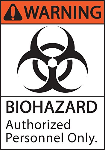 ZING 1924S Eco Safety Sign, Warning Biohazard Authorized Personnel Only, Recycled Polystyrene Self Adhesive, 10″ H x 7″ W, Black, Orange, White